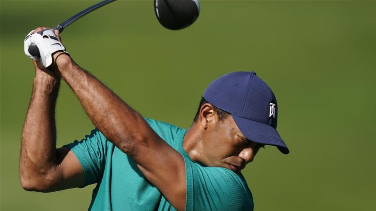 Tiger Woods beim Training im Augusta National Golf Club. Foto: David J. Phillip/AP/dpa